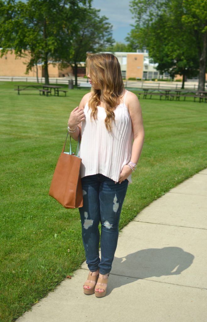 light pink pleated maxi top 2