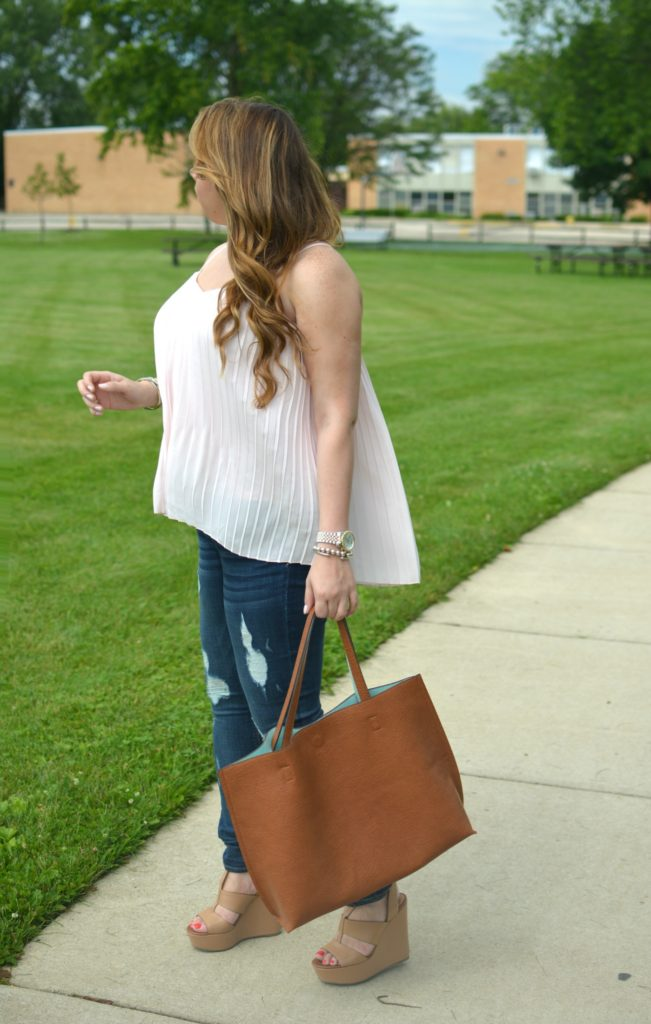 light pink pleated maxi top 7