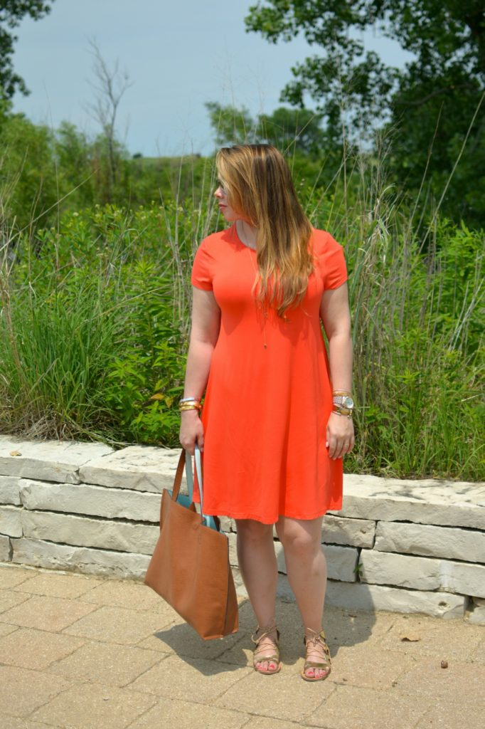 orange swing dress 1