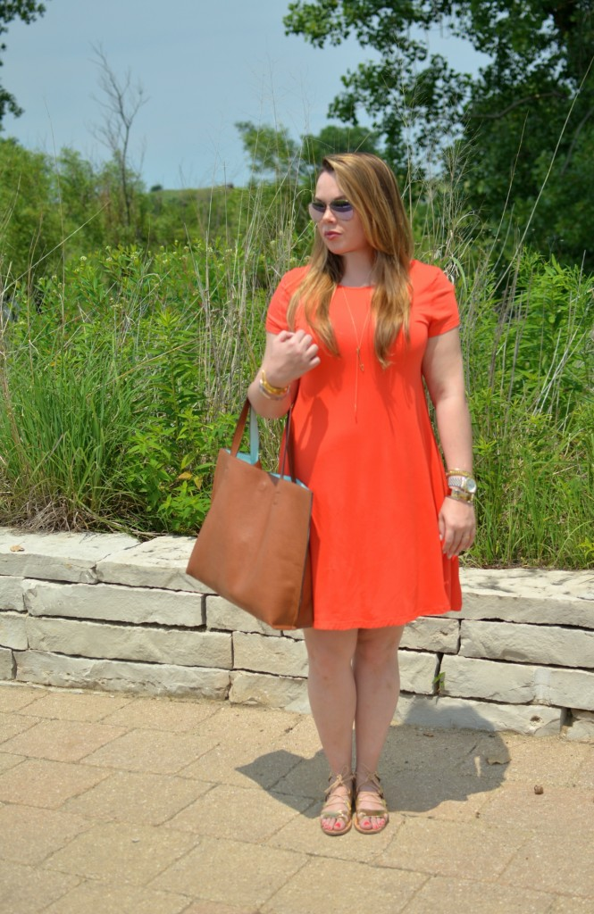 orange swing dress 3
