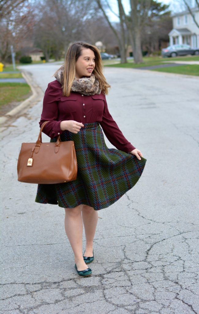 knit plaid midi