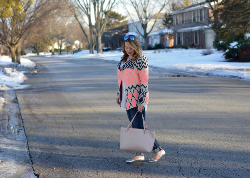 aztec draped sweater