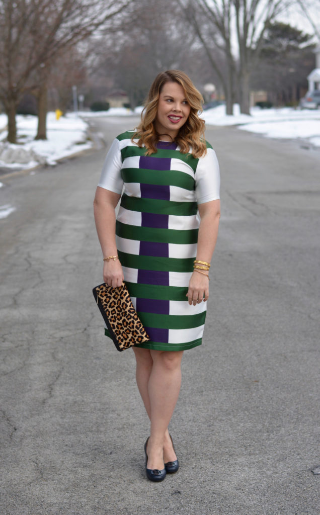 hunter & navy striped dress 4