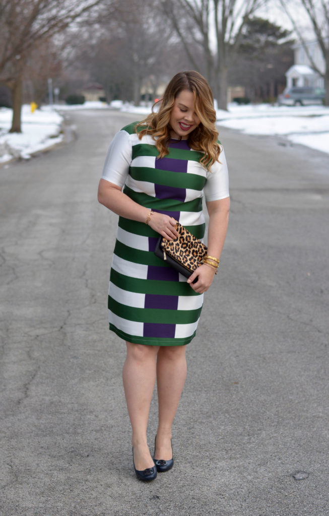 hunter & navy striped dress