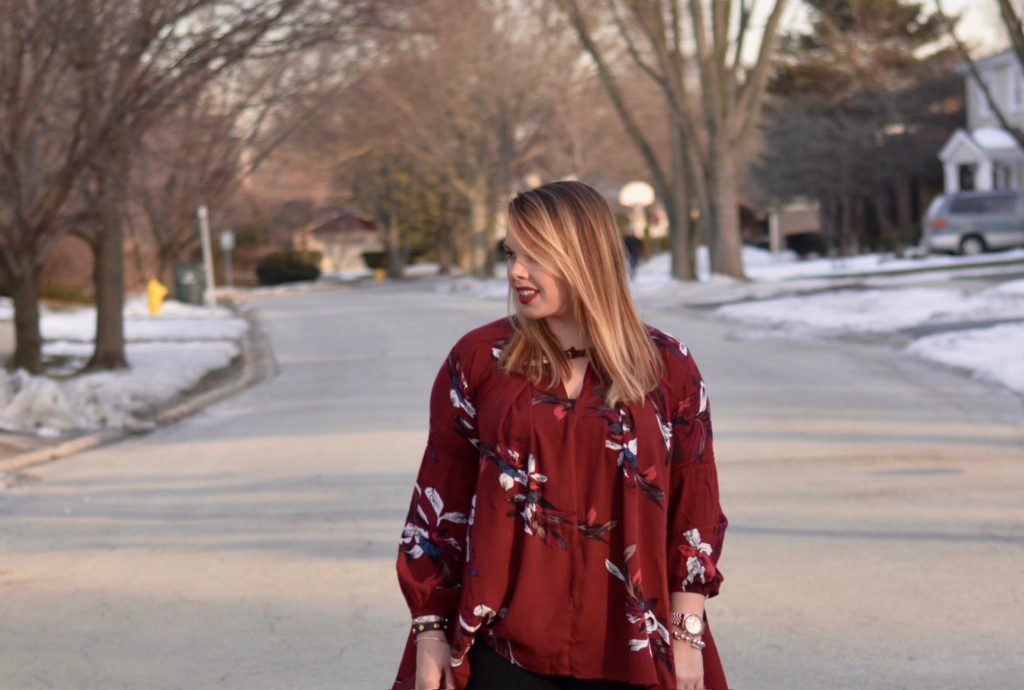 wine floral tunic 2