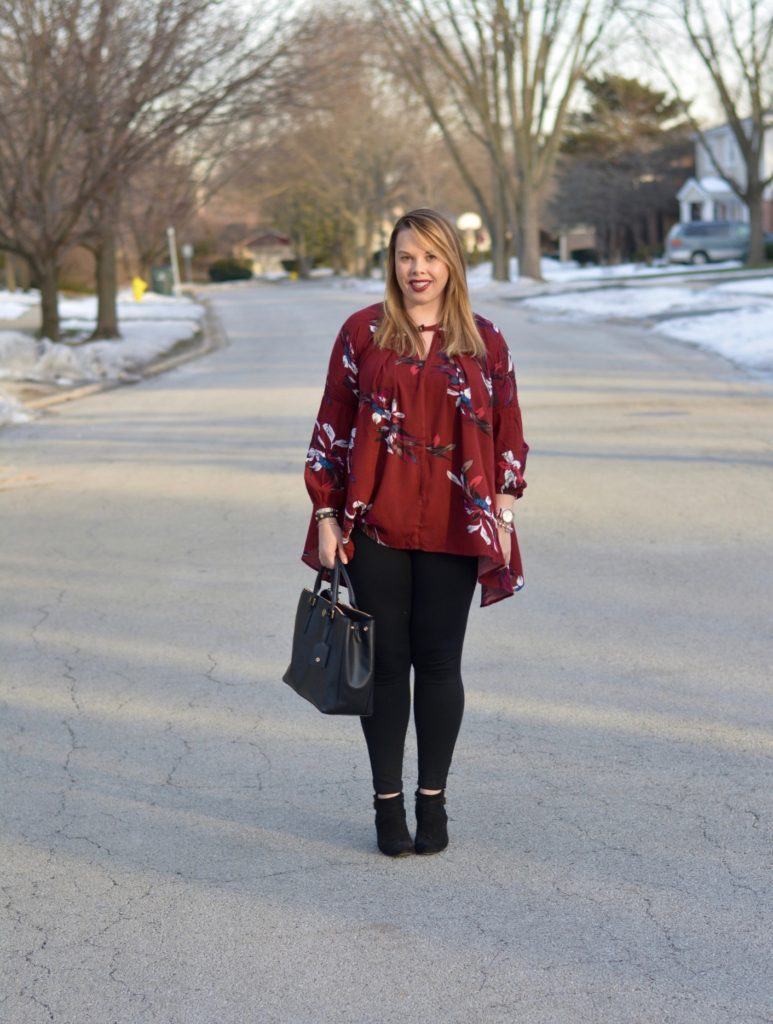 wine floral tunic