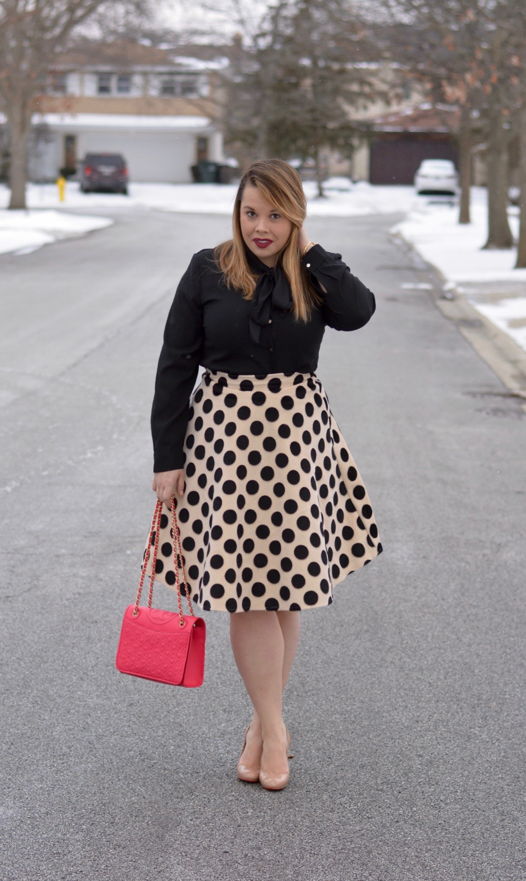 workwear wednesday- polka dot midi 4