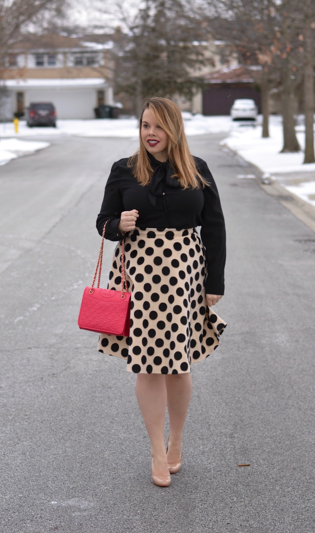 workwear wednesday- polka dot midi 5