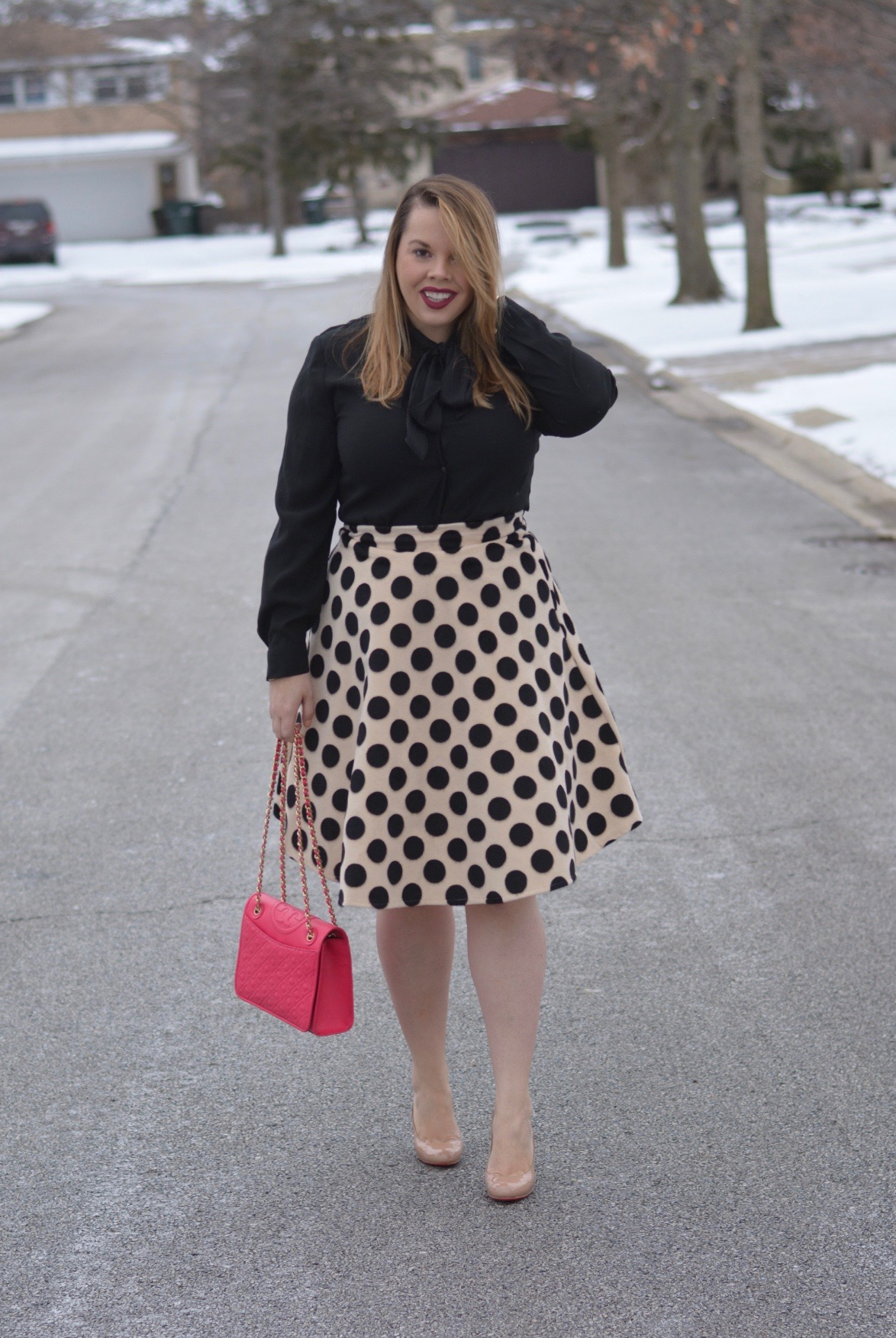 workwear wednesday- polka dot midi 6