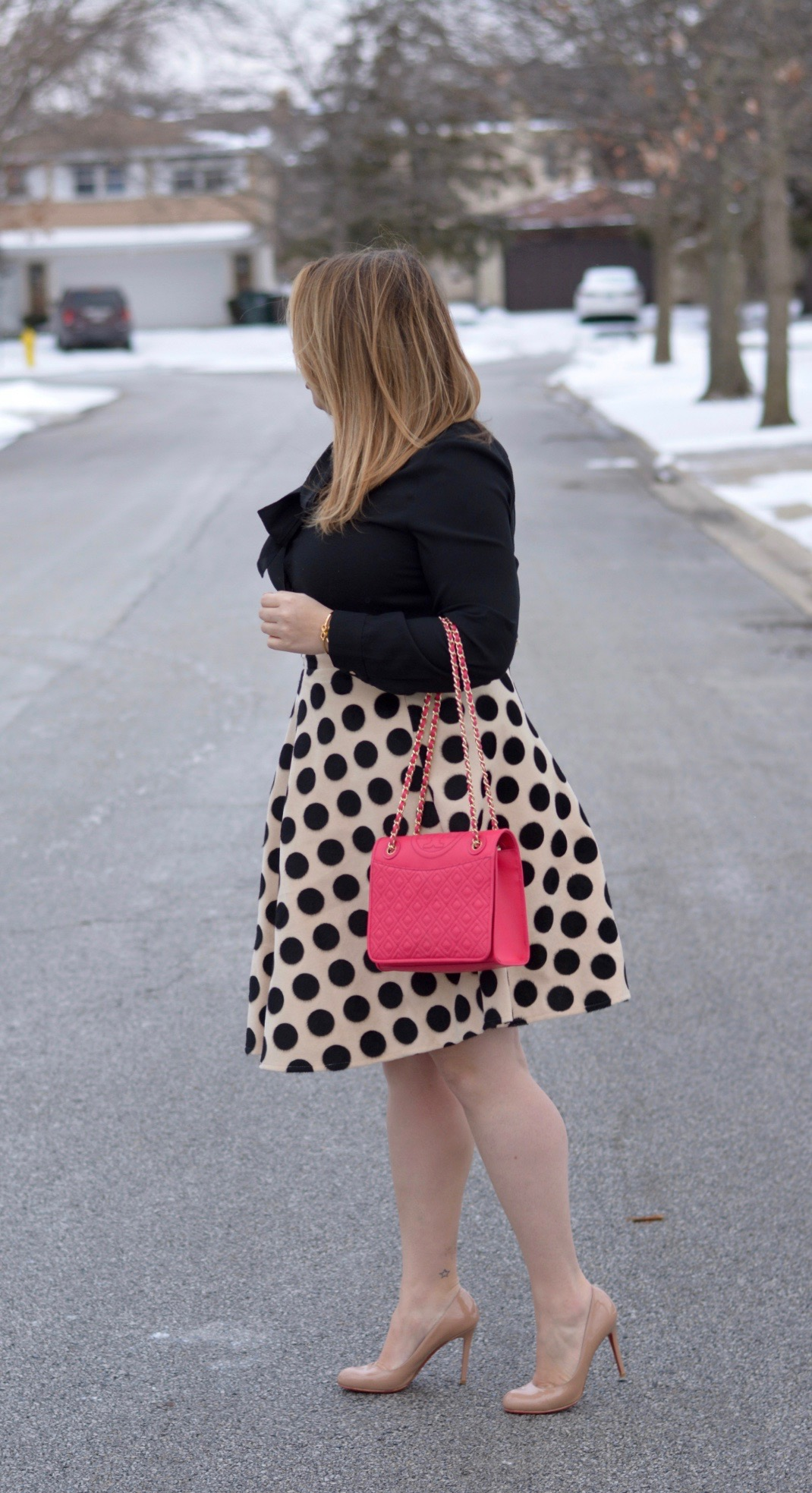 workwear wednesday- polka dot midi 7