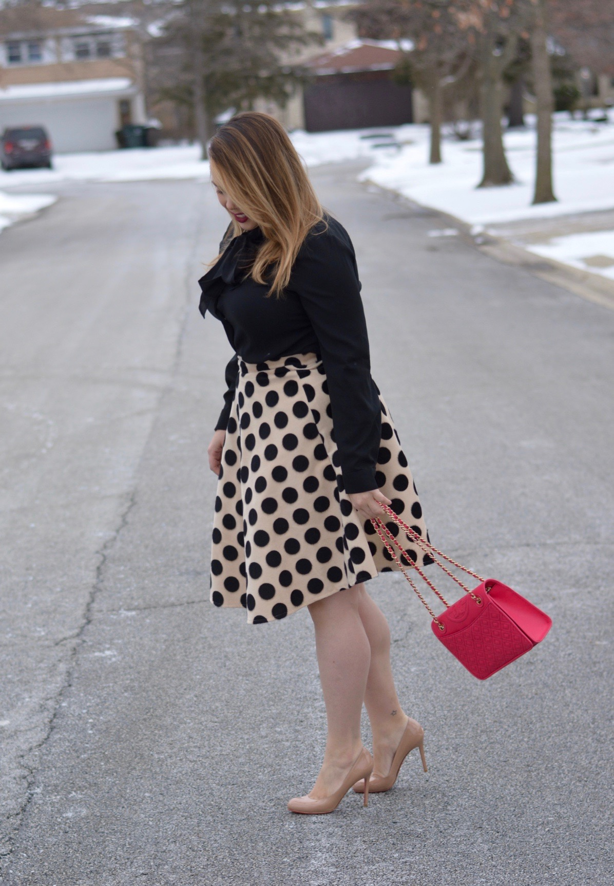 workwear wednesday- polka dot midi