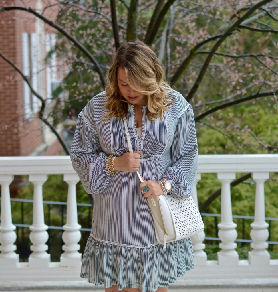 pinstripe shirtdress