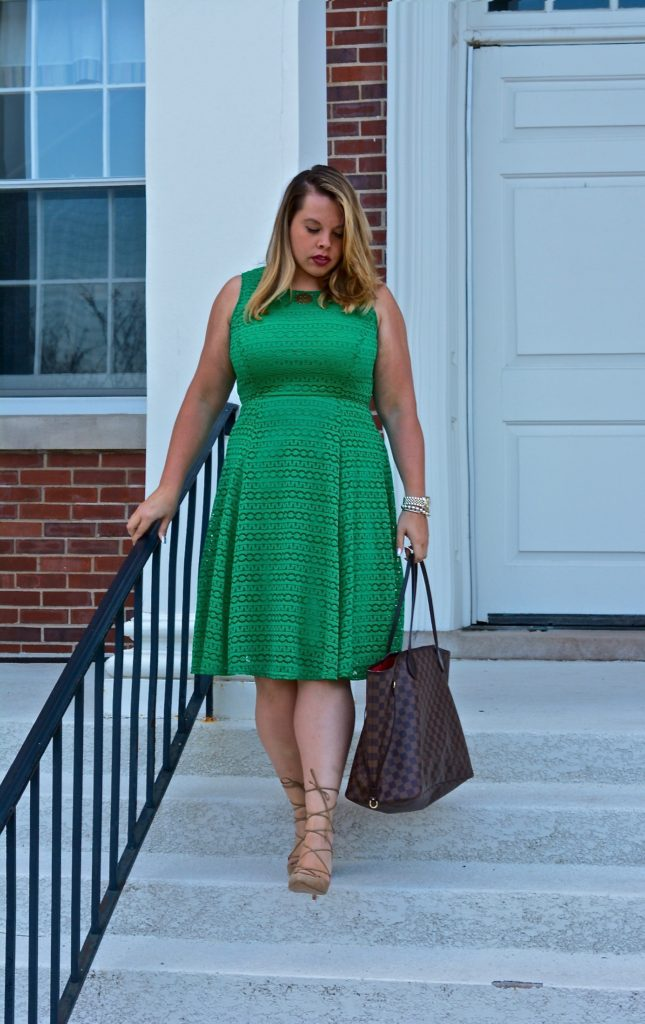 workwear wednesday-eyelet green dress 2