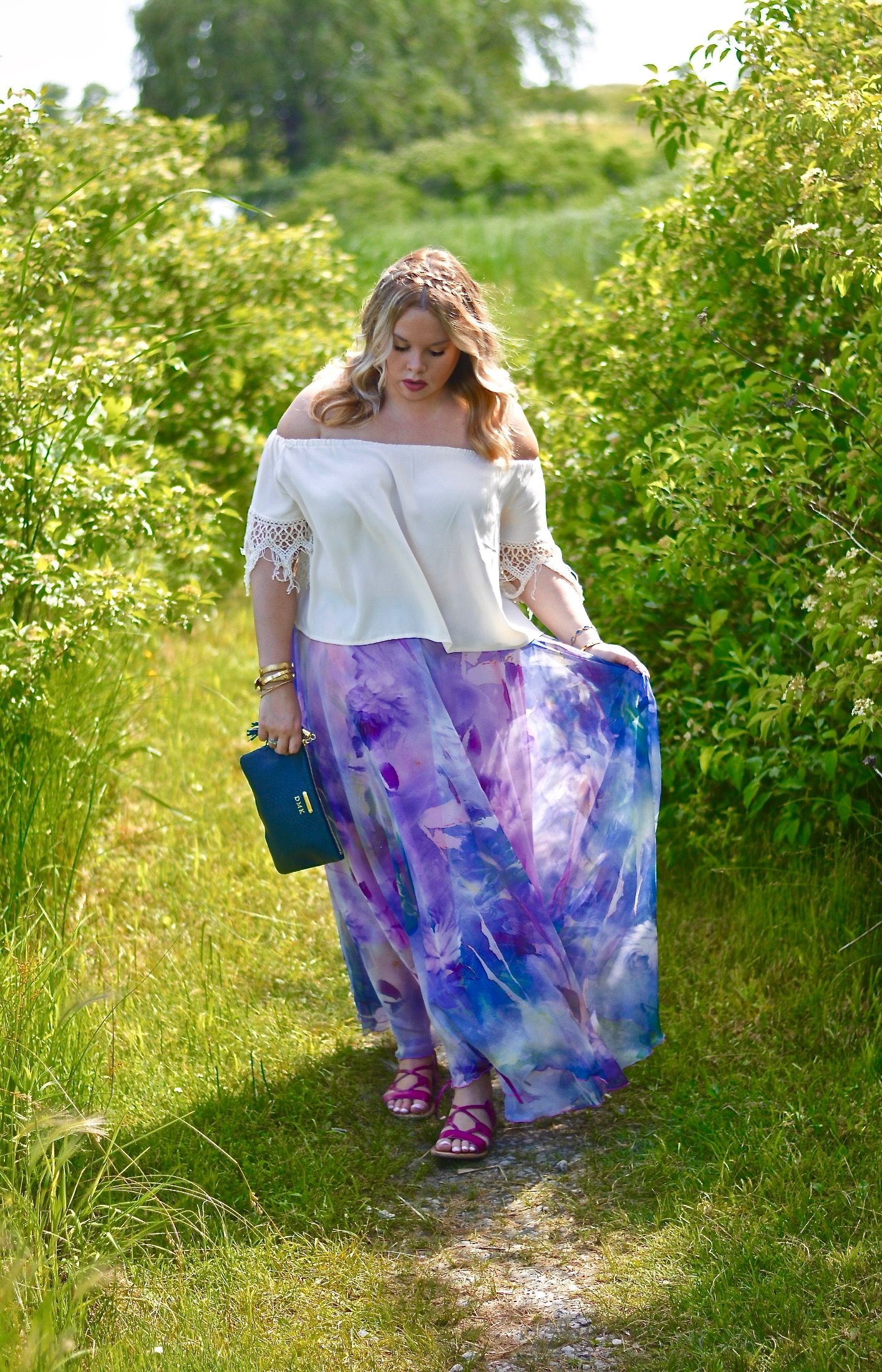 watercolor maxi skirt